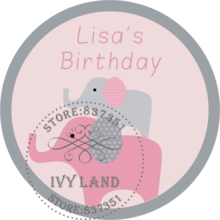 Free Shipping,New Paper,Custom Adhesive Sticker / Label,For Baby Shower / Birthday,Circle 5cm,B25