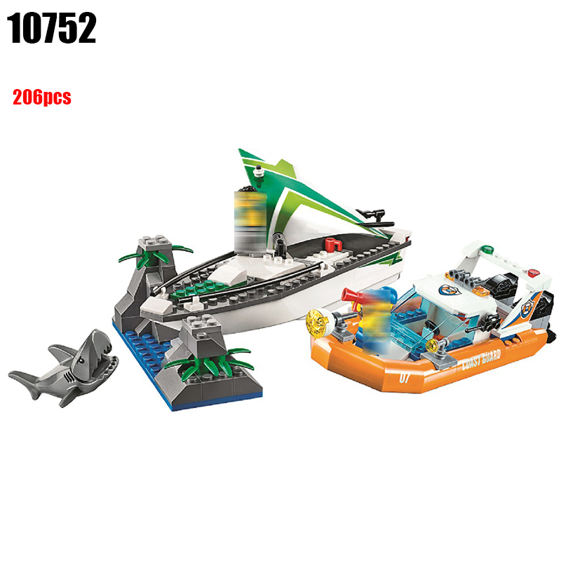 10752 City Coast Guard Sea Sailboat Rescue Boats building blocks DIY Educational bricks toys gift for children Compatible 60168 lepin 02070 492pcs city series coast guard model building blocks bricks toys for children gift