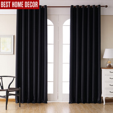 Modern blackout curtains for living room bedroom window treatment drapes black finished 1 panel