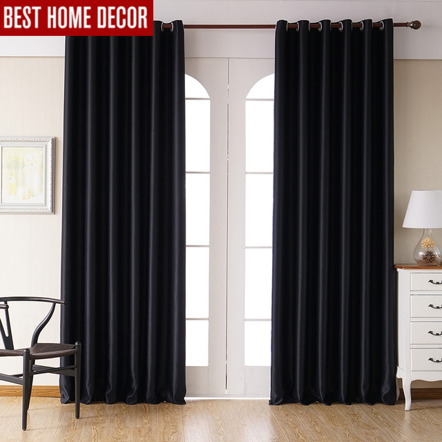 Modern Blackout Curtains For Living Room Bedroom Window Treatment Drapes Black Finished