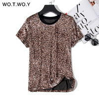 WOTWOY Leopard Print Fur T shirts Women 2019 Spring Summer Hot Tees Casual O-Neck Short Sleeve Harajuku Cool T-shirt Female Tops T-Shirts