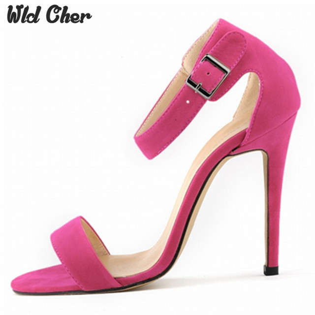 f2d0218aeac4 Charming Newest Women Pumps Open Toe Sexy Ankle Straps High Heels Shoes  Summer Ladies Bridal Suede Thick Heel Pumps