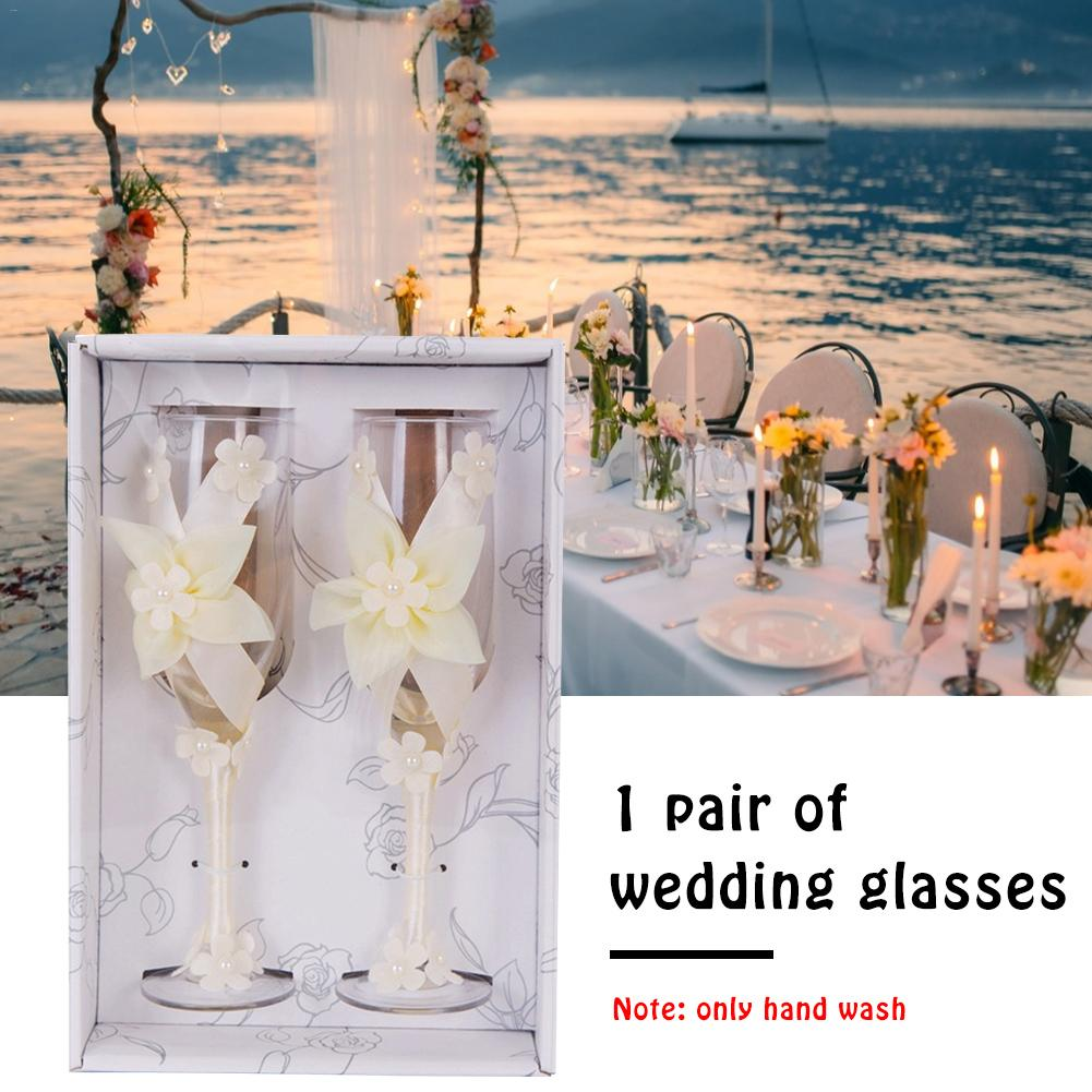 Flower Champagne Glass Beige Marriage Pair Cup Goblet Western Dress Transparent Suitable For Use At Wedding Banquets