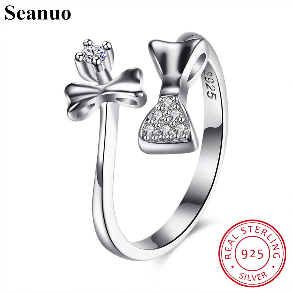Seanuo Sexy 100% Genuine Sterling Silver Lady Cocktail Bowknot Open Finger Ring Jewelry Luxury Women CZ Stone Wedding Ring Gifts