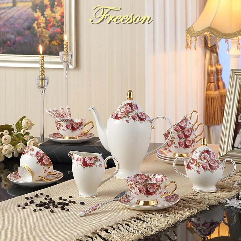 Британска пасторална цветна кост Китай Чаена чаша Top-garde Порцеланов комплект за кафе Керамичен гърне кюспе за мляко Захар чаша Чайник Чаена чаша