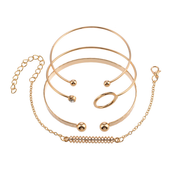 4pcs/Set Gold Bracelets Set...