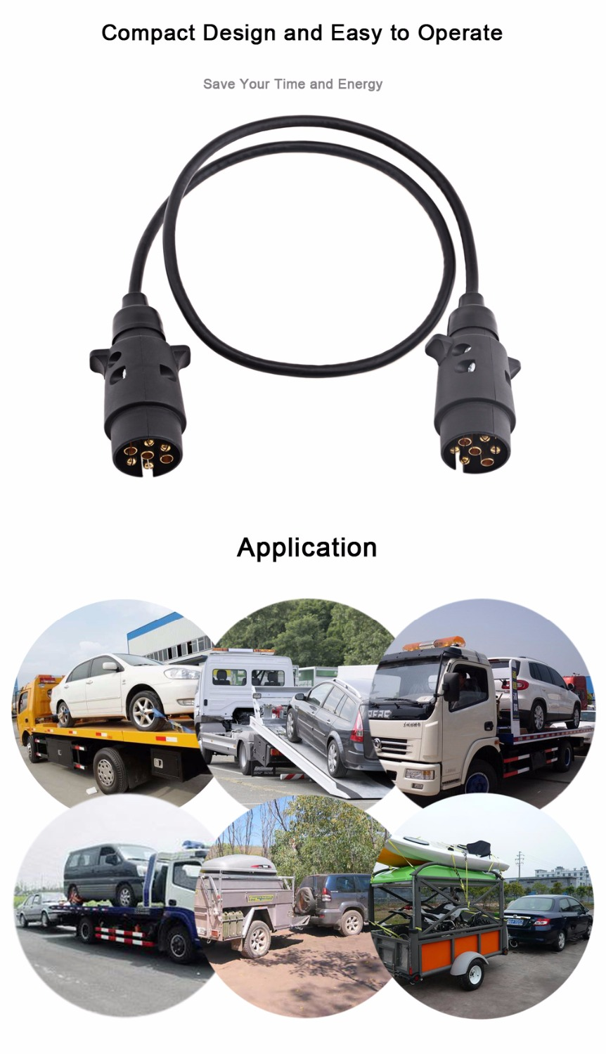 Trailer Wiring Connector N Type Aluminum 7 Pin T23487 Plastic Plug 82cm Black Spring Extension Cable For European Vehicles In Cables Adapters Commercial Motor Sockets