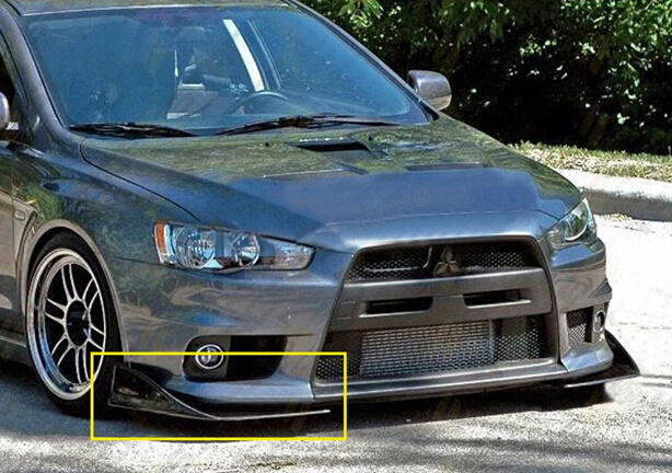 Universal Black FRP Front Side Body kit Bumper Lip Splitter Apron for for Mitsubishi Lancer EVO 10th 5th 6th 7th 8th 9th universal matt black frp car styling front bumper lip splitter apron for bmw audi volkswagen toyota nissan mitsubishi