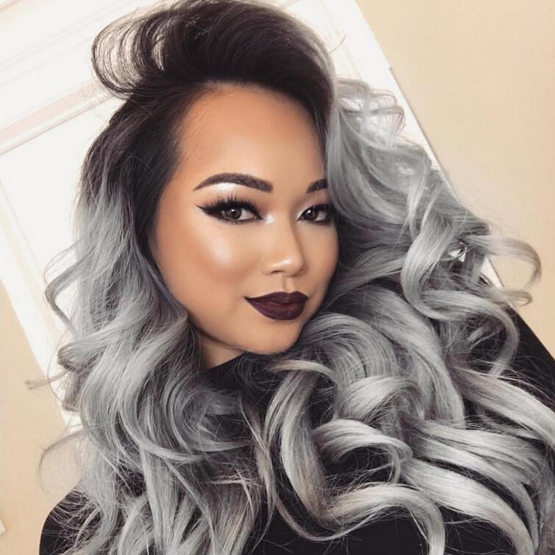 8A Grade Free part two tone 1b/grey full lace human hair wigs Brazilian Virgin human hair wigs glueless lace front wigs