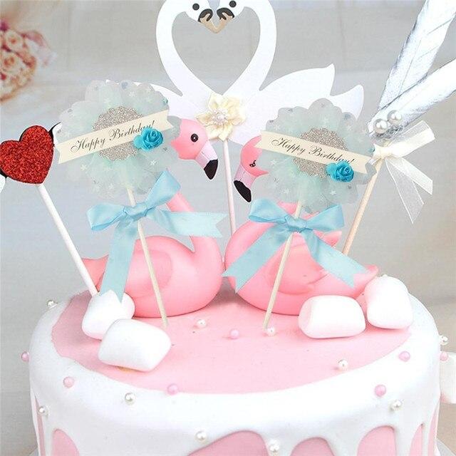 Cute Beautiful Flower Happy Birthday Cake Insert Card Wedding Cake