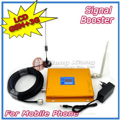 Pantalla LCD! 3G W-CDMA UMTS 2100 MHz GSM 900 Mhz Teléfono Celular Amplificador de Señal de Doble Banda 2G 3G de la Señal repetidor con Antena