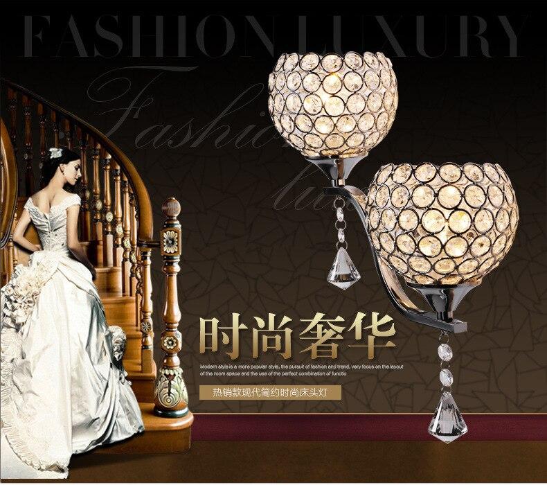 5 шт. современный стиль бра ночники Спальня лестница лампа кристалл настенные светильники E27 LED один Золото Серебро Цвет внутреннего освещен...