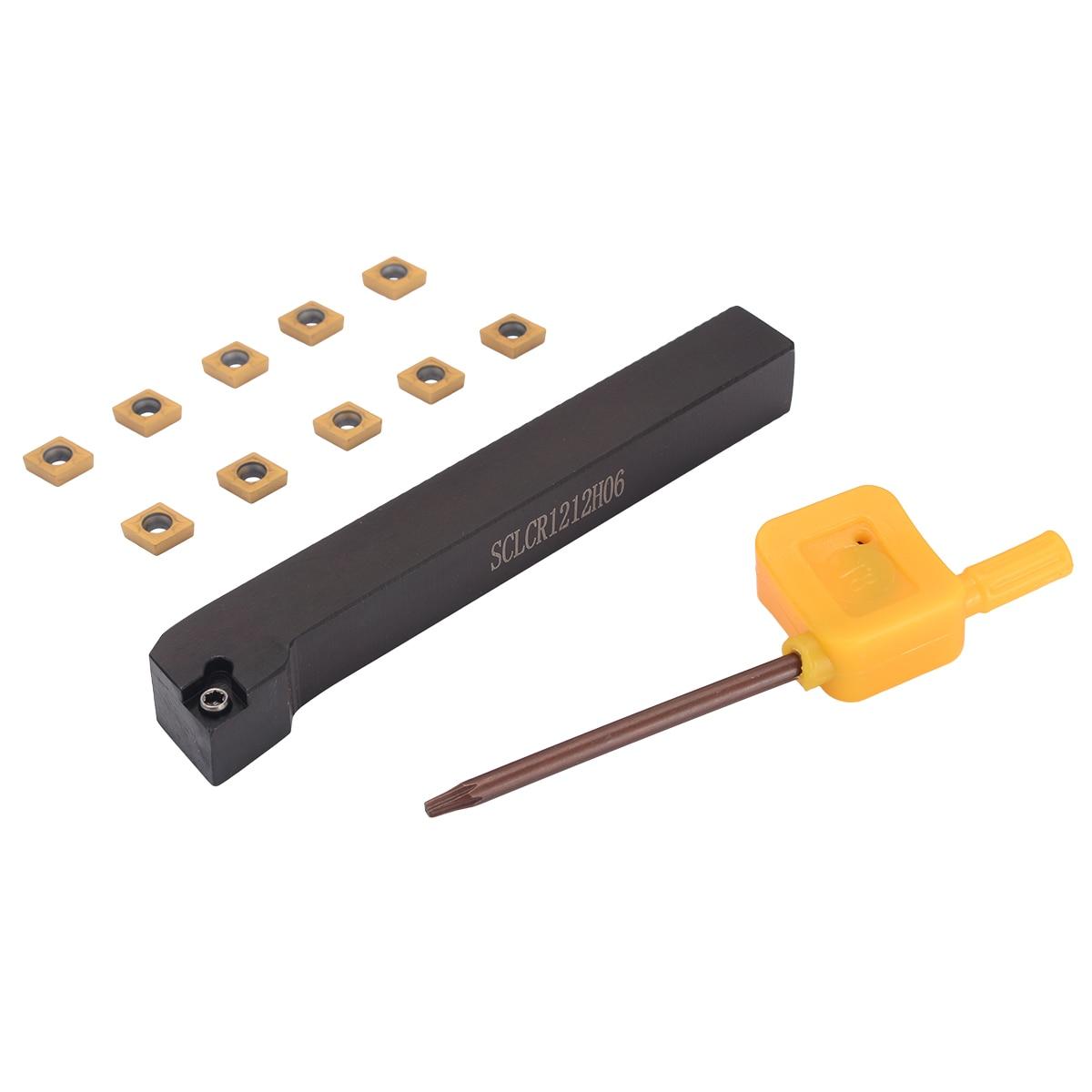 1 unid SCLCR1212H06 torneado portaherramientas + 10 piezas CCMT060204-HM VP15TF carburo insertar con T8 llave
