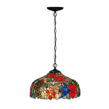 Luxury Elegant Art Deco Rural Plant Flower Stained Glass Large Bedroom Pendant Down Light Vintage Kitchen Living Room Hang Lamp