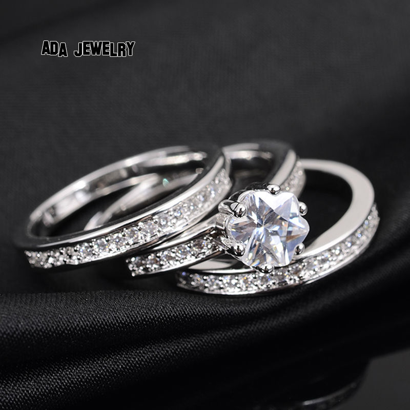 2018 3 Circles Eternity Love Charming Cz Diamond Ring Set White Gold