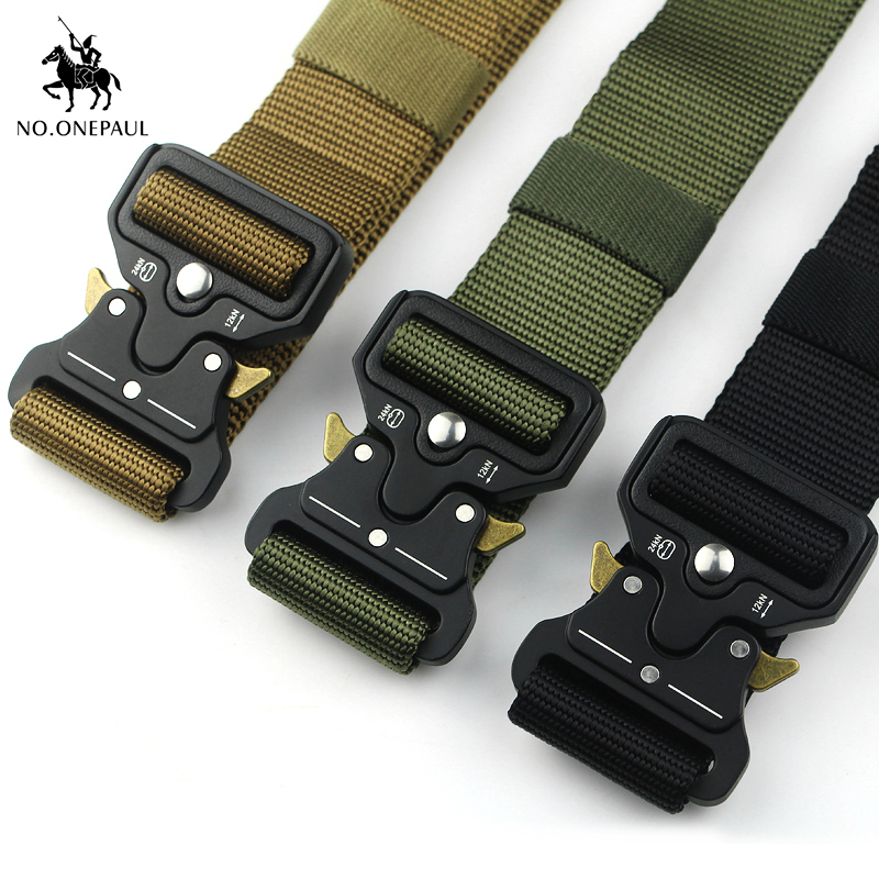 NO.ONEPAUL Men's Brand Military Tactical Belt Specially Designed For The Military's Metal Buckle Adjustable Belt Free Shipping