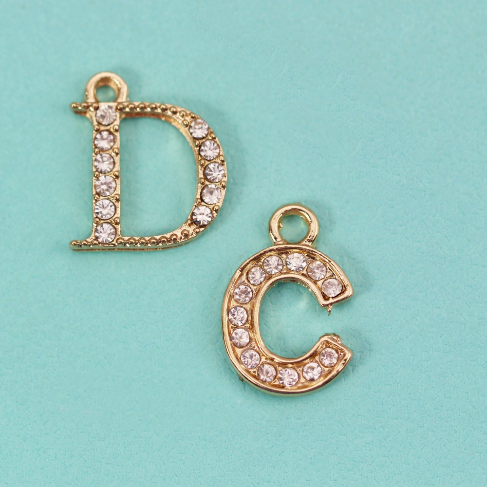 Gold Charm Bracelet Charms: 10pcs Fashion Jewelry Metal Charms Letter C D Gold Plated