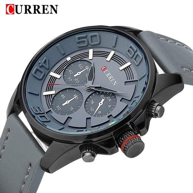 2016 new Curren brand design genuine leather military men cool fashion clock sport male gift wrist