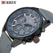 2016 nouveau Curren marque conception en cuir véritable militaire hommes cool mode horloge sport mâle cadeau poignet quartz montre d'affaires 8187
