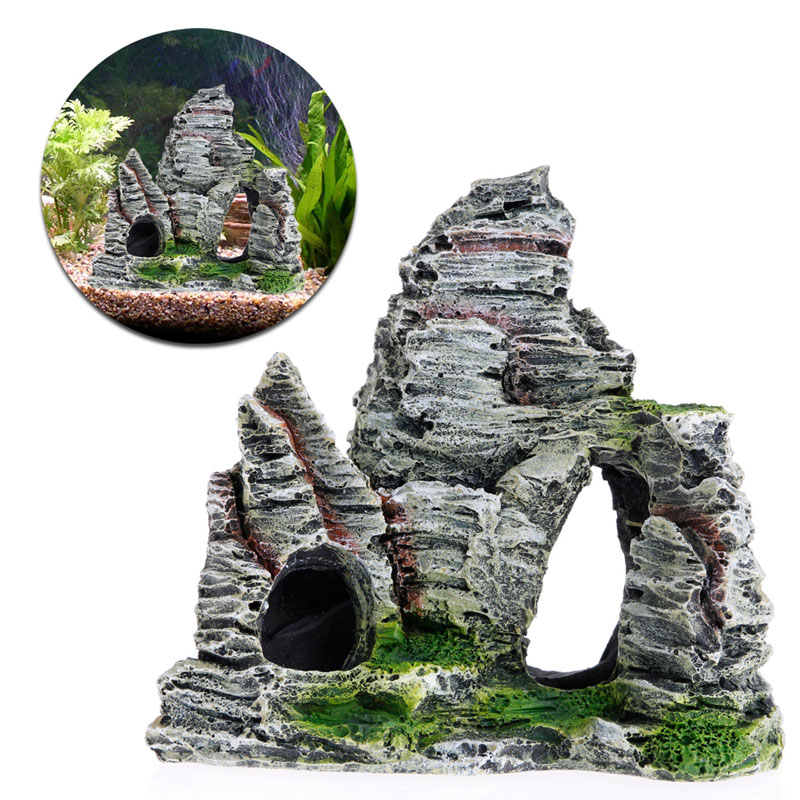 4 Shape Aquarium Rockery Mountain View Rock Cave Stone Tree Fish Tank Ornament Decoration Aquarium Accessories