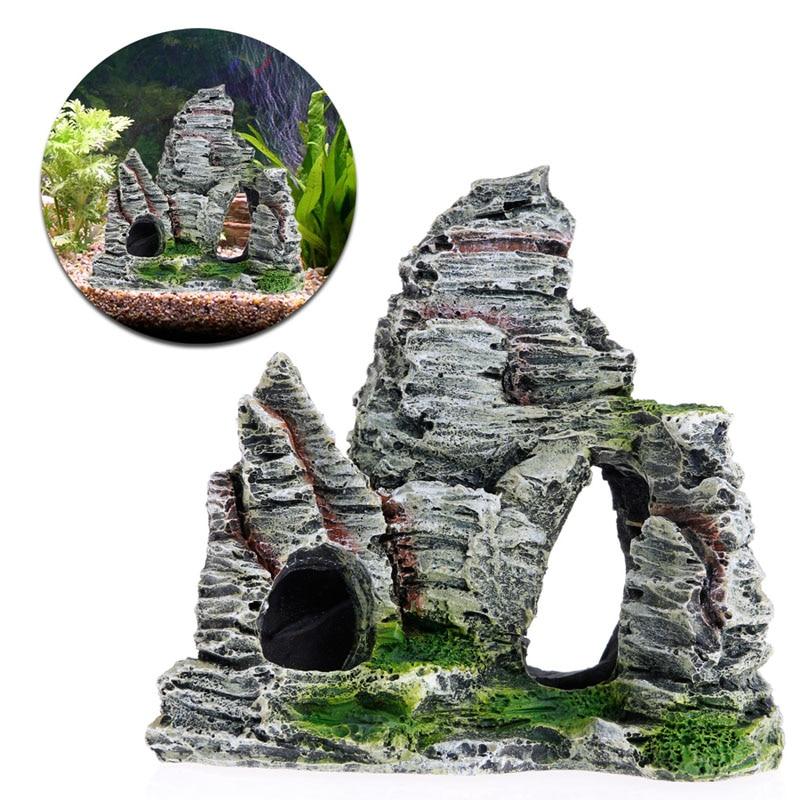 4 Shape Aquarium Rockery Mountain View Rock Cave Stone Tree Fish Tank Ornament Decoration Aquarium Accessories