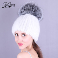 Joolscana hat women cap mink fur beanies with fox fur pompom hot selling 2018 new arrival spring autumn winter