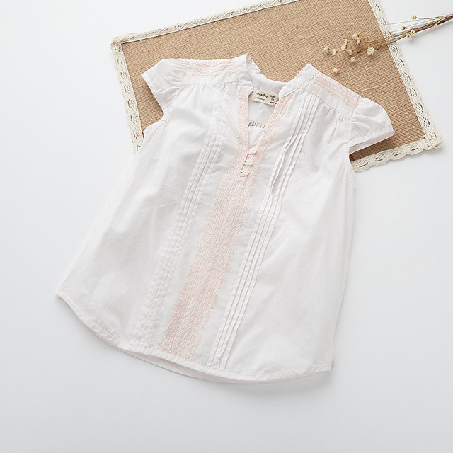 ce7a7f102b3d0 NEW Kids Girls Cotton Ruffle Shirts Baby Girl Summer Embroidered Blouse Girl  Princess Jumper Tops 2016 Babies Wholesale Clothes