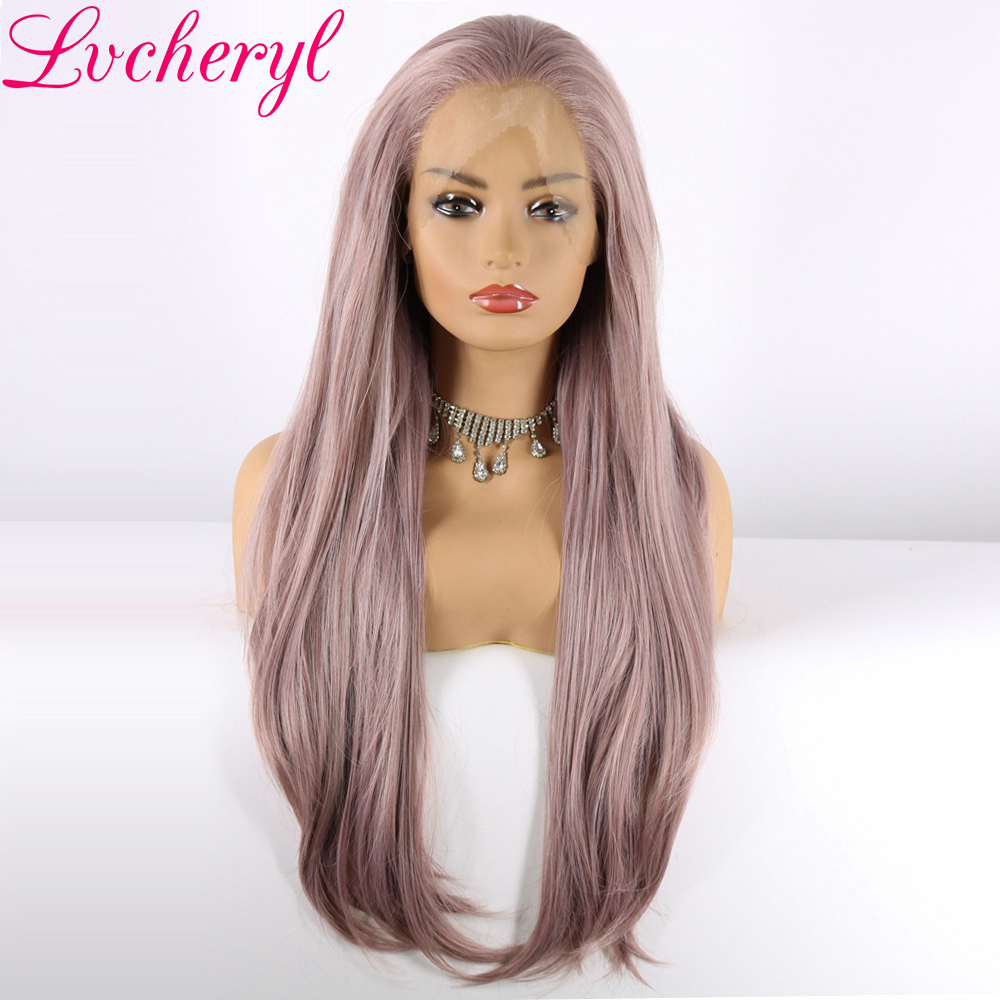 Lvcheryl Long Natural Wave Light Purple Mixed Color hair Hand Tied Heat Resistant Fiber Synthetic Lace