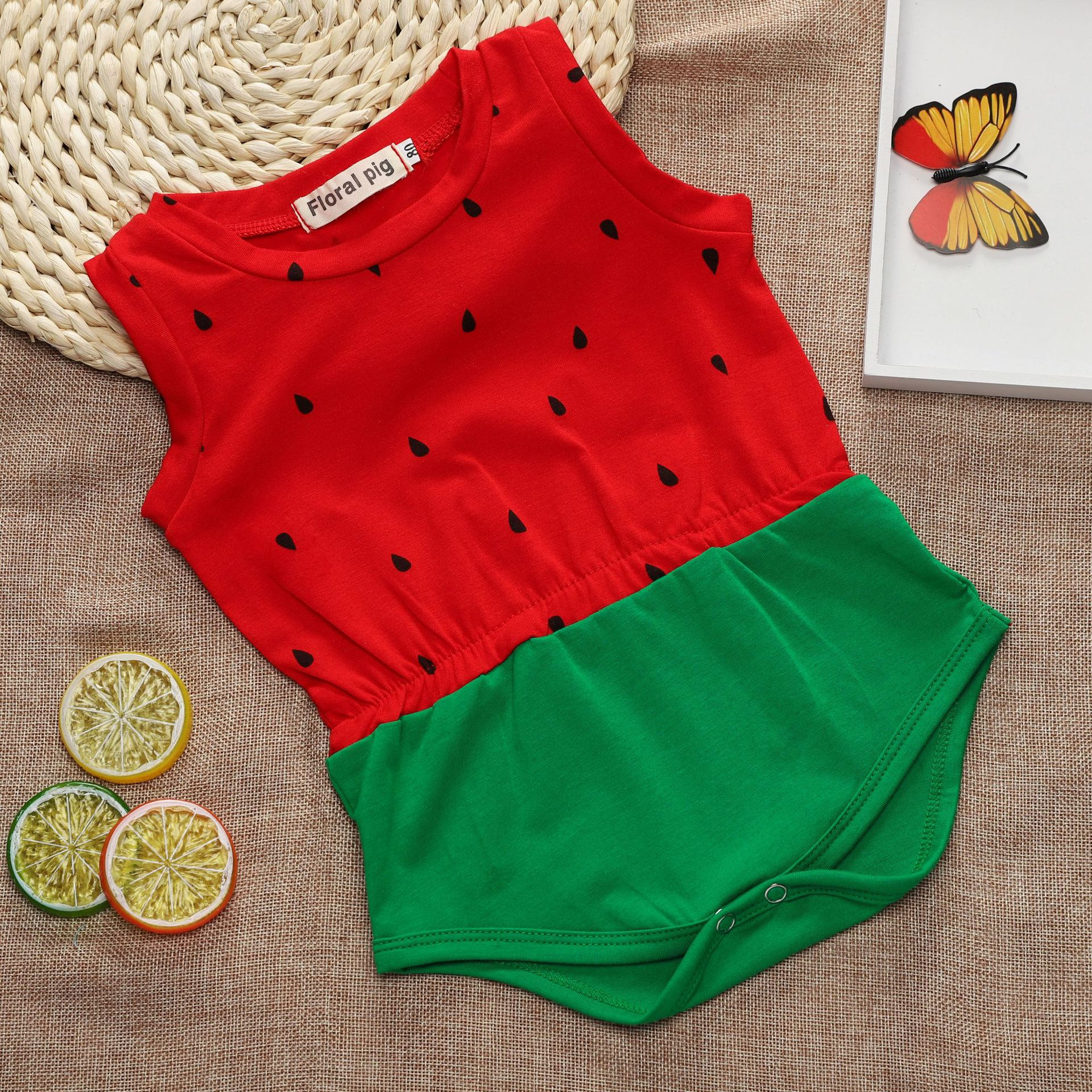 Girls Rompers 2018 Baby Clothes Cotton Infant Sleeveless Jumpersuit For Girl Princess Tutu Watermelon Pattern Romper