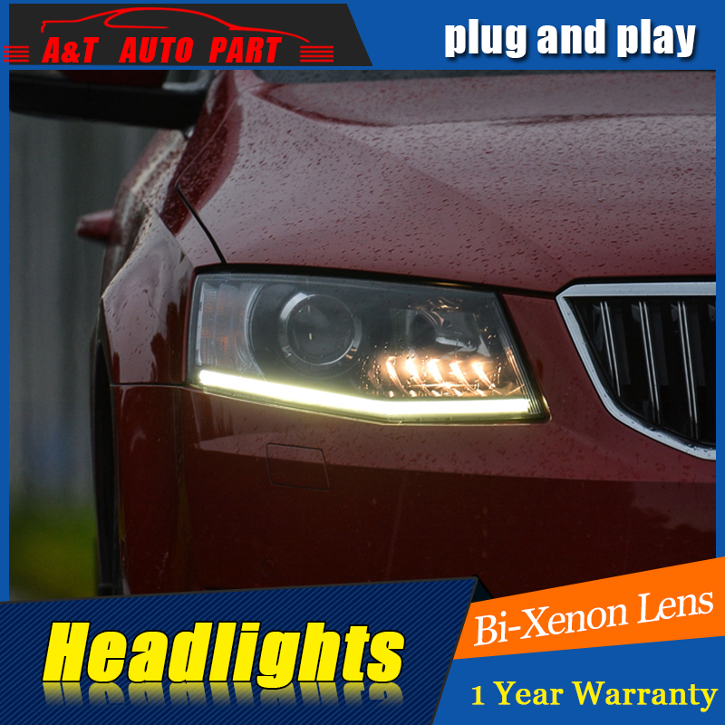 A&T Car Styling For Skoda Octavia headlights For Octavia  LED head lamp Angel eye led DRL front light Bi-Xenon Lens xenon HID car usb sd aux adapter digital music changer mp3 converter for skoda octavia 2007 2011 fits select oem radios