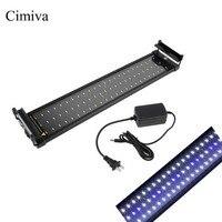 Cimiva 50 70cm Aquarium LED Lighting Fish Tank Light Lamp with Extendable Brackets 60 White and 12 Blue LEDs Fits for Aquarium