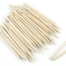 Juego de manicura y pedicura, 100/50/10 unidades/bolsa empujadora de cutículas de madera, naranja, elimina piel muerta