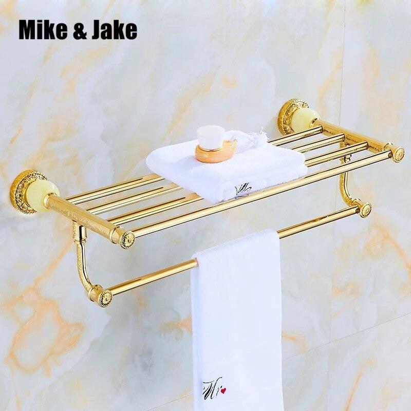 Luxury gold jade towel shelf golden bathroom towel rack shelf night-robe shelf in bathroom wall shelf for towel with jadeLuxury gold jade towel shelf golden bathroom towel rack shelf night-robe shelf in bathroom wall shelf for towel with jade
