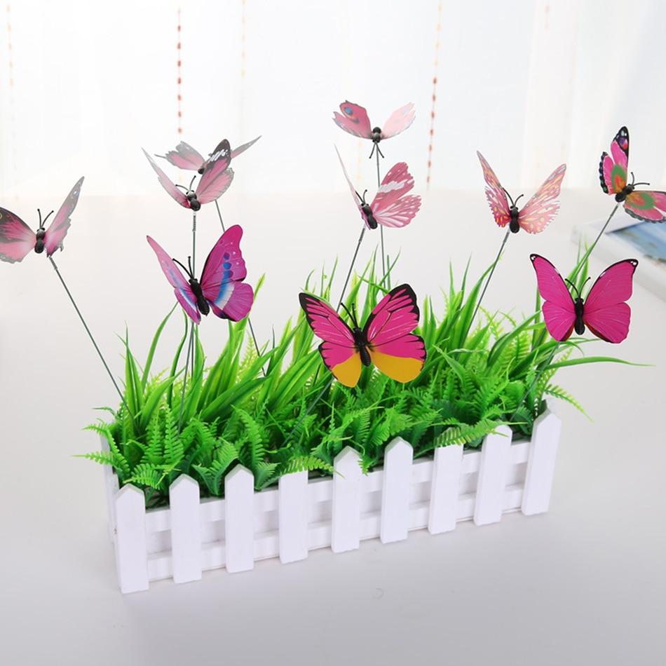 15 unids/lot искусственный украшения Бабочка Сад Двор украшения моделирование Turf ставки butterefly накладные случайный цвет