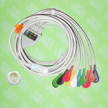 Compatible with 12pin Mindray EKG 10 lead the One-piece ECG cable and Snap leadwires,IEC or AHA. 1