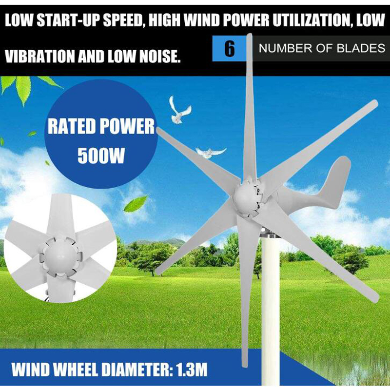 500W 12V/24V/48V Volt 6 Nylon Fiber Blade Horizontal Home Wind Turbines Wind Generator Power Windmill Energy Turbines Charge500W 12V/24V/48V Volt 6 Nylon Fiber Blade Horizontal Home Wind Turbines Wind Generator Power Windmill Energy Turbines Charge