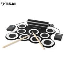 TSAI Roll Up E-drum Set Kits 9 Pads Eingebaute Lautsprecher Mit Fuß Pedale Drumsticks Usb-kabel Neue
