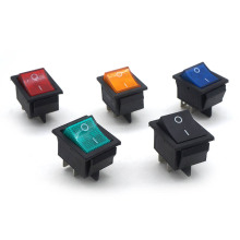 5Pcs Latching Rocker Switch Power I/O 4 Pins With Light 16A 250VAC 20A 125VAC KCD4