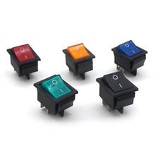 5Pcs Latching Rocker Switch Power Switch I/O 4 Pins With Light 16A 250VAC 20A 125VAC KCD4 цена 2017