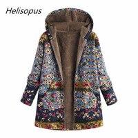 Helisopus 2019 Women Hooded Jacket Cotton Winter Warm Outwear Coat Floral Print Hooded Pockets Vintage Oversize Coats Plus Size