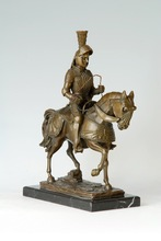 ATLIE Bronzes Sculpture Knight statue with natural marble base  souvenirs Western home decoration