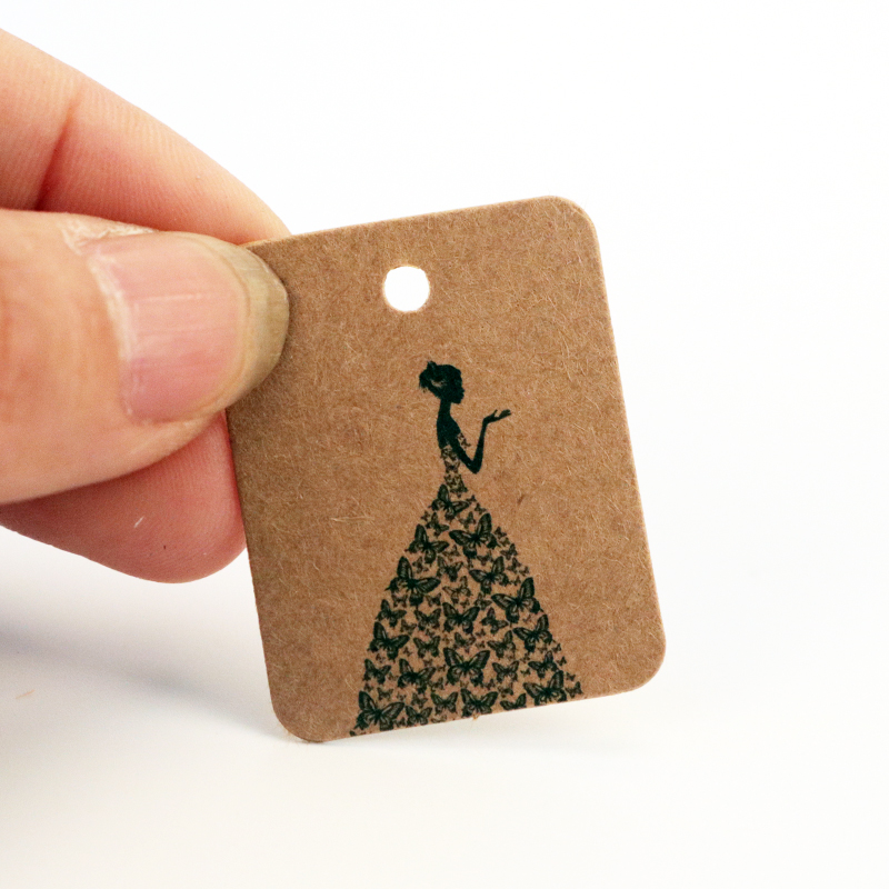 100pcs Paper Card Label Price tags Luggage Tags Girl printing Gift Greeting Cards Kraft Paperecoration/DIY Card Making 8Colors