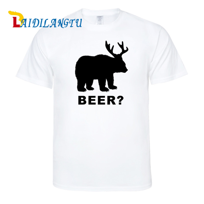 New Arrivals Fashion T-Shirt Bear+Deer=Beer Hunting Funny Men High Quality Cotton O-Neck Short Sleeve T Shirts Male Top Tees