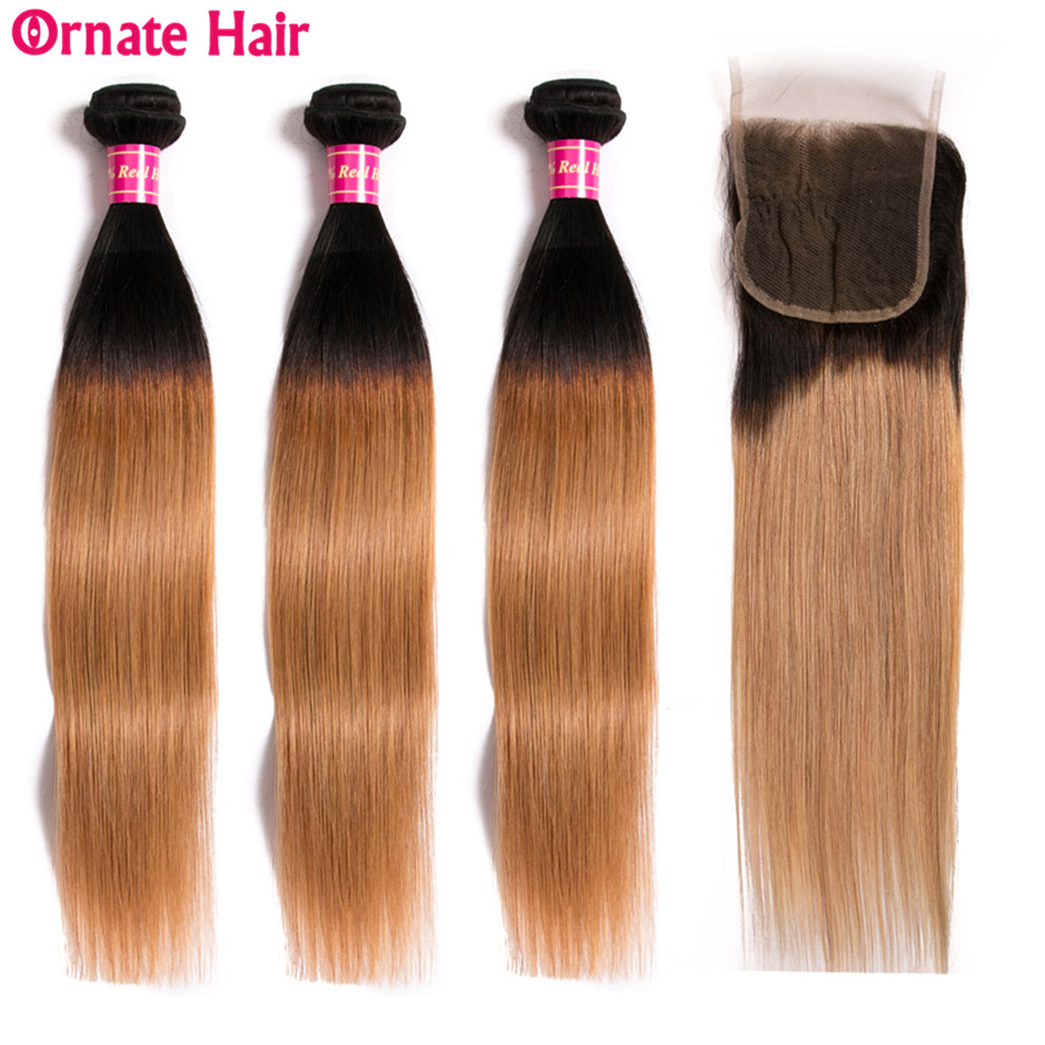 3 Bundles 1b 27 Ombre Bundles With Closure Brazilian Straight Hair Bundles With Closure Human Hair
