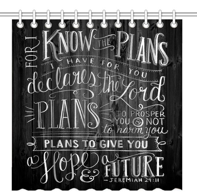 Shower Curtain Vintage Christian Inspirational Bible Verse Scripture Quotes On Deadwood Waterproof Decorative Bath Curtains