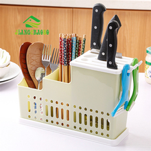 JiangChaoBo Multifunctional Plastic Chopsticks Drain Tube Kitchen Knife Holder Cutlery Rack Home
