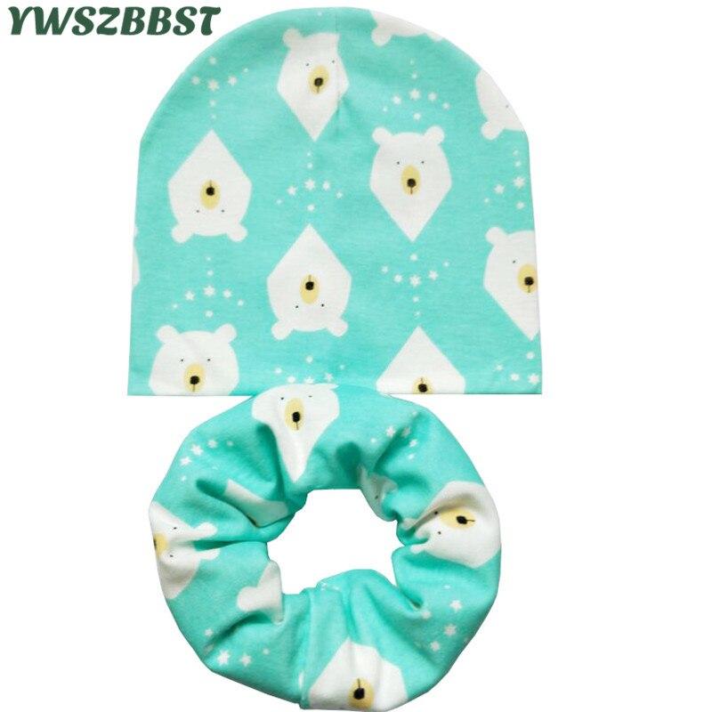 Baby Hats for Girls Cartoon Print Kids Hat Baby Boy Hat Cotton Children Scarf Collar Infant Caps Newborn Cap Kids Beanie Hats