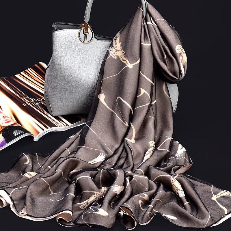 100% Pure soie foulard dames marque de luxe 2019 Hangzhou soie châles et enveloppes pour les femmes imprimer Long naturel réel foulards en soie