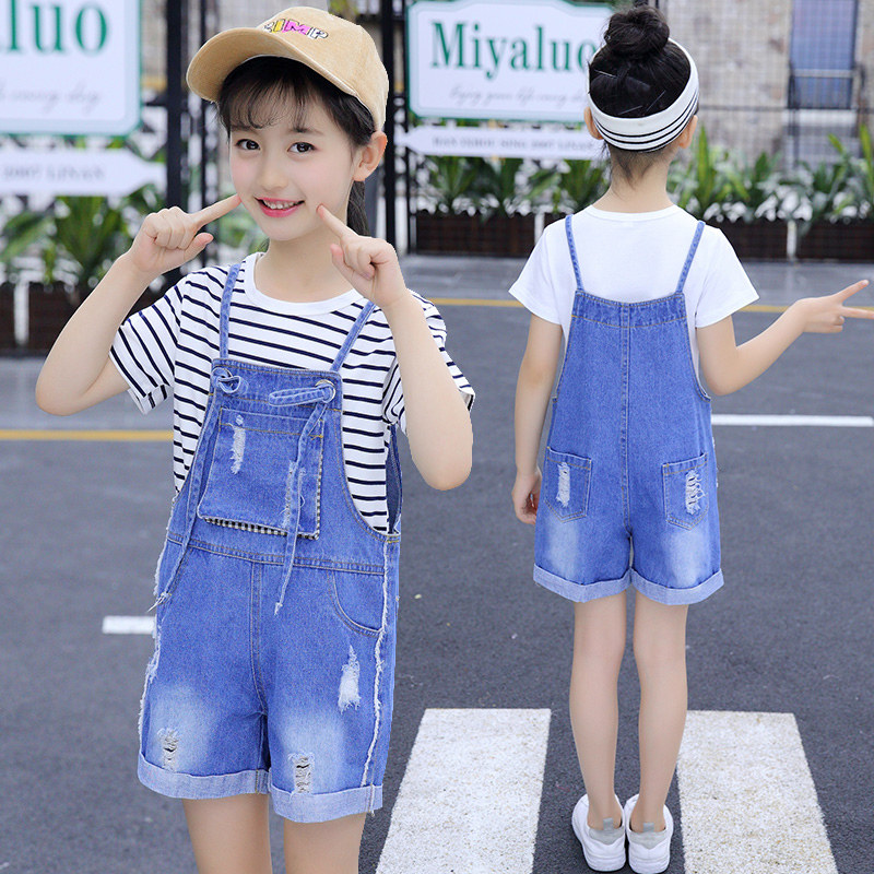 Children Denim Overalls For Girls Jumpsuit Rompers Jeans Shorts Kids Summer Bib Jumpsuits For Teen 4 5 6 7 8 9 10 11 12 13 Year