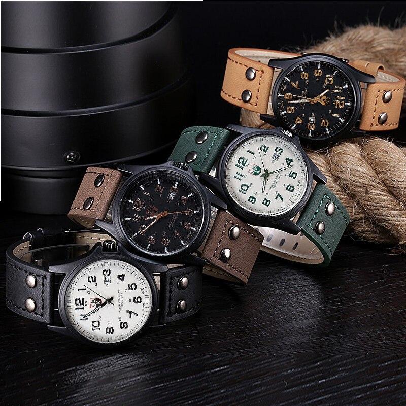 2018 New Business Quartz Watch Men Sport Military Watches Men Corium Leather Wrist Watch Clock Hours Complete Calendar